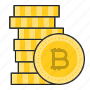 bitcoin, blockchain, coins, cryptocurrencty, digital currency, gold coins icon