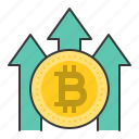 bitcoin, blockchain, cryptocurrencty, digital currency, price increase icon