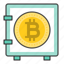 bitcoin, blockchain, cryptocurrencty, digital currency, safe, safe box icon