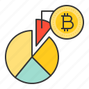bitcoin, blockchain, circle graph, cryptocurrencty, digital currency, graph icon