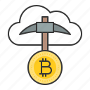 bitcoin, bitcoin mining, blockchain, cryptocurrencty, digital currency, pickaxe icon