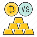 bitcoin, blockchain, compare, cryptocurrencty, digital currency, gold, gold bar icon