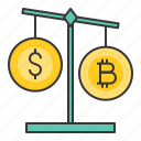 balance, bitcoin, blockchain, compare, cryptocurrencty, digital currency, scale icon