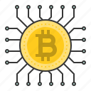 bitcoin, blockchain, chip, cryptocurrencty, digital currency, processor icon