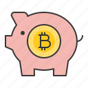 bitcoin, blockchain, cryptocurrencty, digital currency, piggy, piggy bank icon