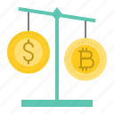 balance, bitcoin, blockchain, compare, cryptocurrency, digital currency, scale icon
