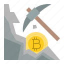 bitcoin, bitcoin mining, blockchain, cryptocurrency, digital currency, mining, pickaxe icon