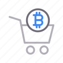 basket, bitcoin, crypto, currency, trolley