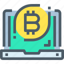 bank, bitcoin, cryptocurrency, digital, laptop, money icon