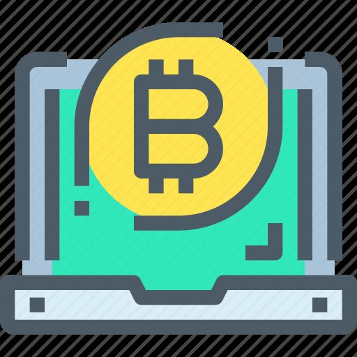 bank, bitcoin, cryptocurrency, digital, laptop, money icon