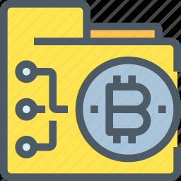 bank, bitcoin, cryptocurrency, digital, folder, money, network icon