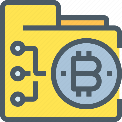 bank, bitcoin, cryptocurrency, digital, folder, money, network icon