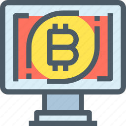bank, bitcoin, computer, cryptocurrency, digital, money icon