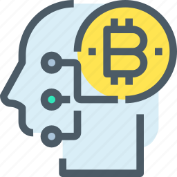 bank, bitcoin, cryptocurrency, digital, head, mind, money icon