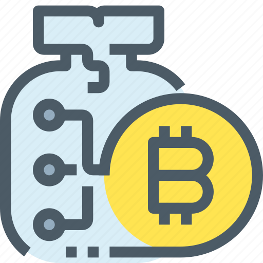 bag, bank, bitcoin, cryptocurrency, digital, money icon
