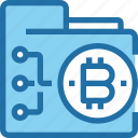 bank, bitcoin, cryptocurrency, folder, money, network icon