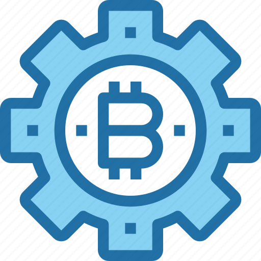 bank, bitcoin, cryptocurrency, gear, money, process icon
