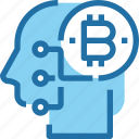bank, bitcoin, cryptocurrency, human, mind, money icon