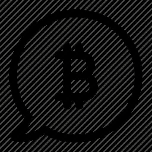 bitcoin, bubble, community, digital, forum, mining, speech icon