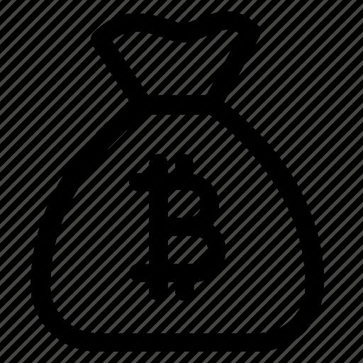bag, bitcoin, business, coin, money, moneybag, stack icon