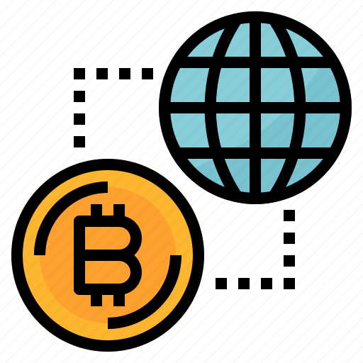 bitcoin, currency, digital, global, money icon