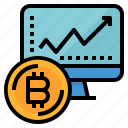 bitcoin, chart, growth, monitor, profit icon