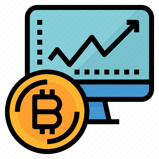 bitcoin, chart, growth, monitor, profit icon
