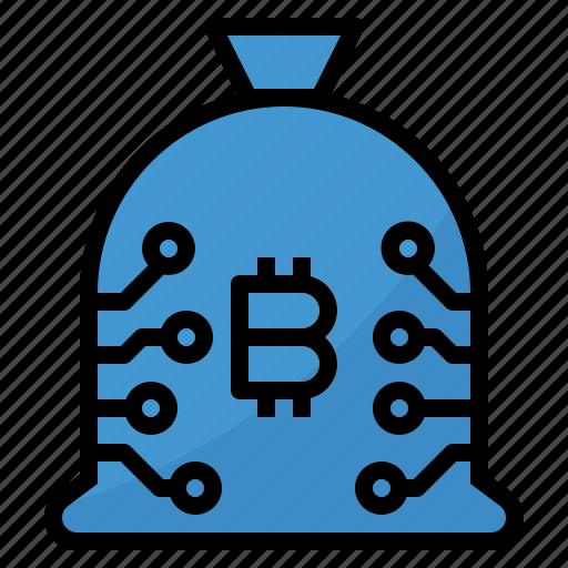 bag, bitcoin, cash, coin, currency, money icon