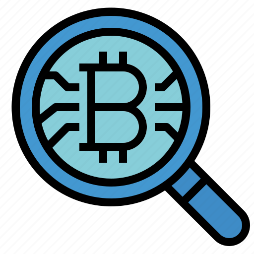 bitcoin, currency, money, research icon