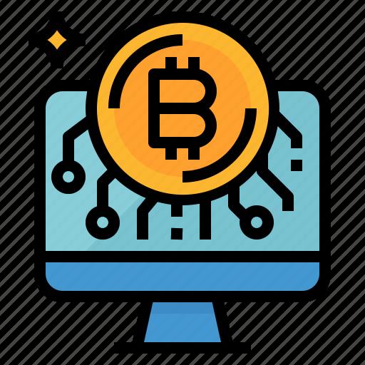 bitcoin, cash, coin, computer, money icon