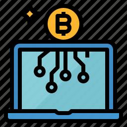 bitcoins, investment, laptop, money icon