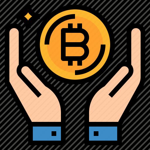 bitcoin, earn, income, money, profit icon