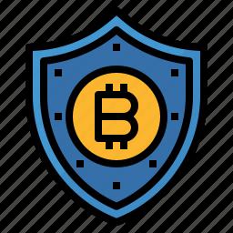 bitcoin, data, key, protect, protection, shield icon