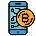 bitcoin, cash, coin, money, smartphone icon