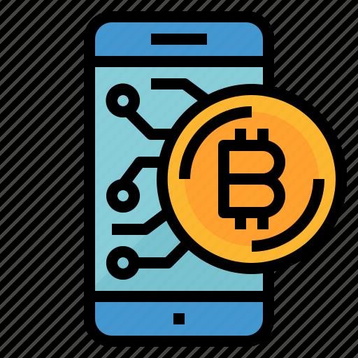 bitcoin, cash, coin, money, smartphone icon