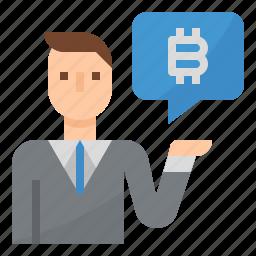 bitcoin, consultant, investment, profit icon