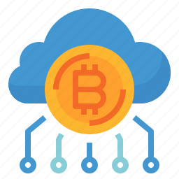 bitcoin, cash, cloud, coin, currency, money icon