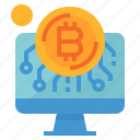 bitcoin, cash, coin, computer, money icon