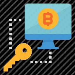 bitcoin, computer, data, encryption, key, protect, protection icon