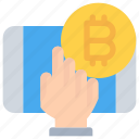 bitcoin, cash, cryptocurrency, mobile, money icon