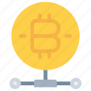 bitcoin, cash, cryptocurrency, money, network icon