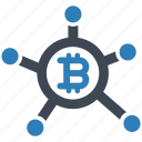 bitcoin, cryptocurrency, network icon