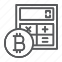 bitcoin, calculate, calculator, coin, cryptocurrency, finance icon