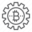 bitcoin, cogwheel, crypto, currency, gear, money icon