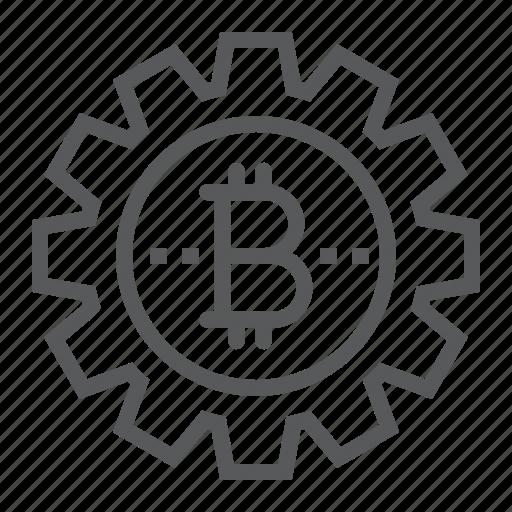 bitcoin, cogwheel, crypto, currency, gear, money icon