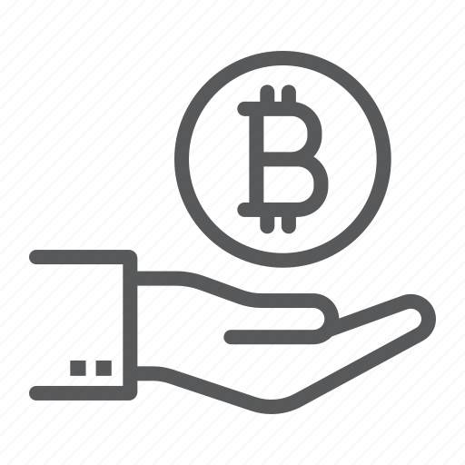 bitcoin, coin, cryptocurrency, finance, hand, money, payment icon