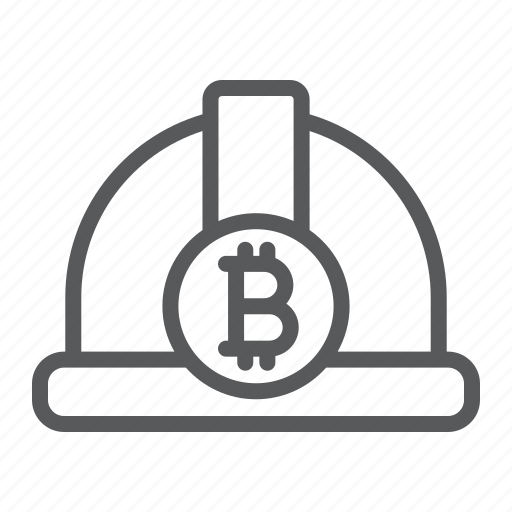 bitcoin, cryptocurrency, finance, hat, helmet, miner icon