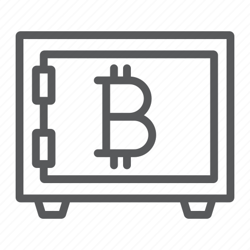 bank, bitcoin, cryptocurrency, money, safe, security, storage icon
