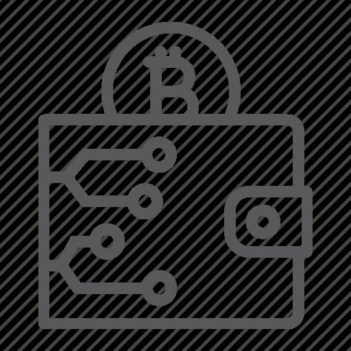 bitcoin, cash, digital, finance, purse, wallet icon