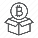 bitcoin, block, box, coin, digital, money, reward icon